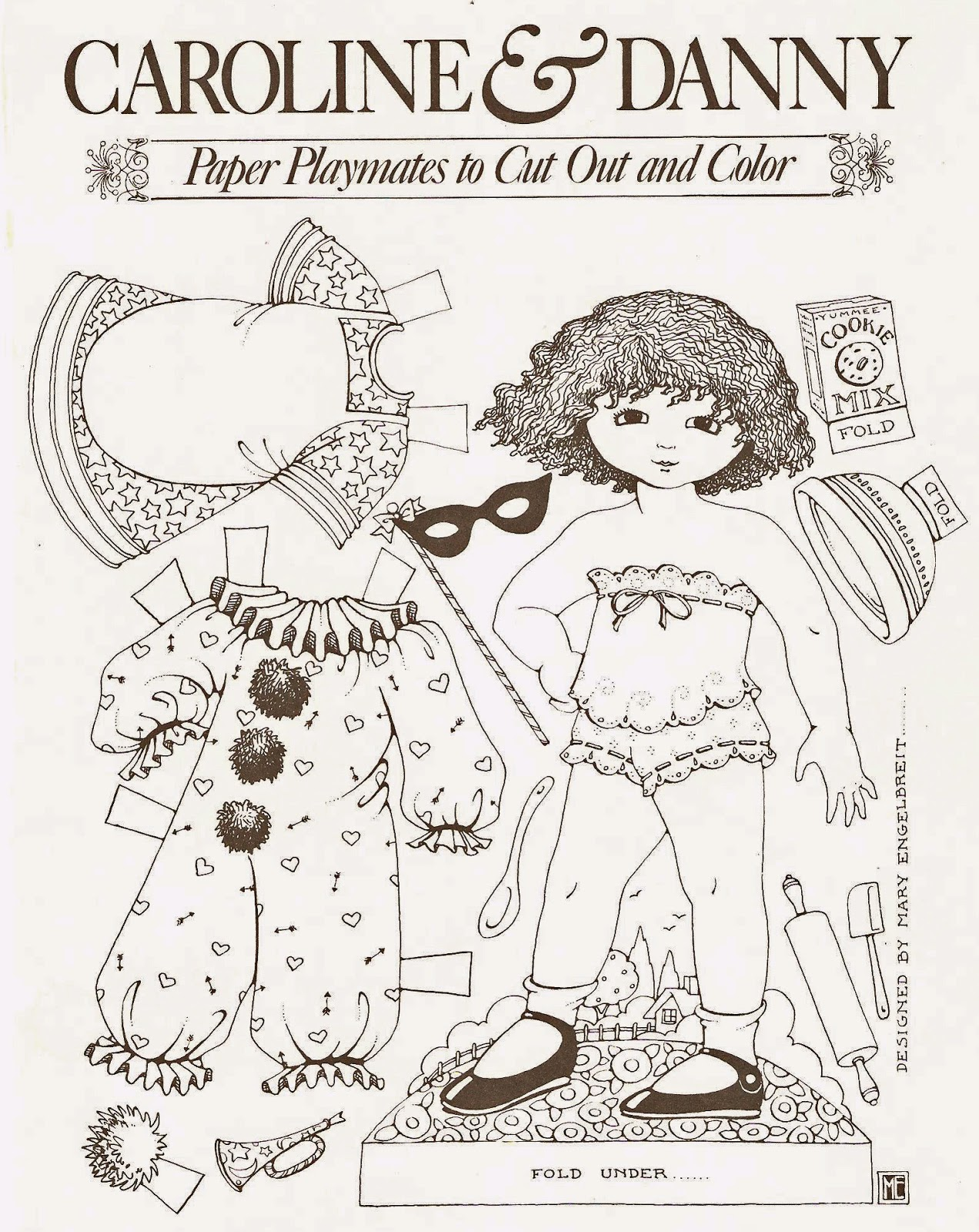 here is a four page coloring set from the artist mary englebreit there are two dolls a boy and a girl ive included a black and white scan as well as a - Mary Engelbreit Coloring Book