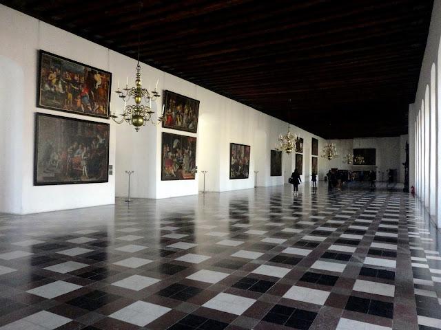 Modern design of a hall inside Kronborg Castle, Helsingor, Copenhagen, Denmark