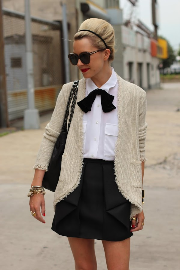 atlantic pacific black white tibi skirt asos bow zara jacket