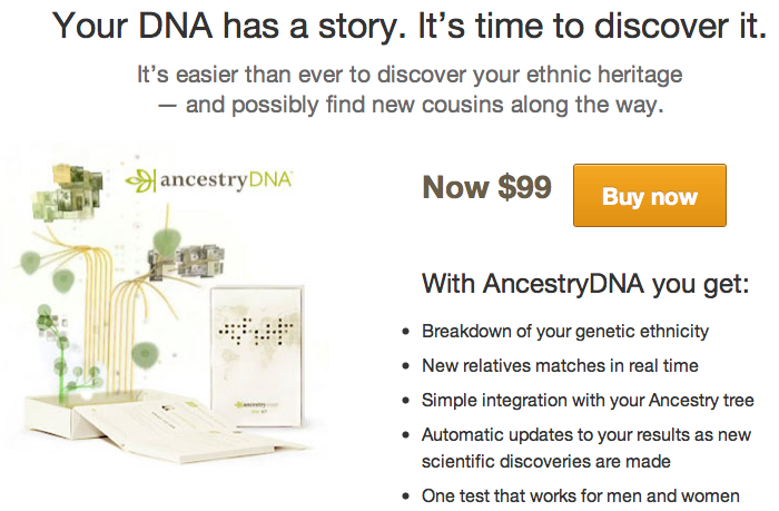 $99 DNA ancestry test