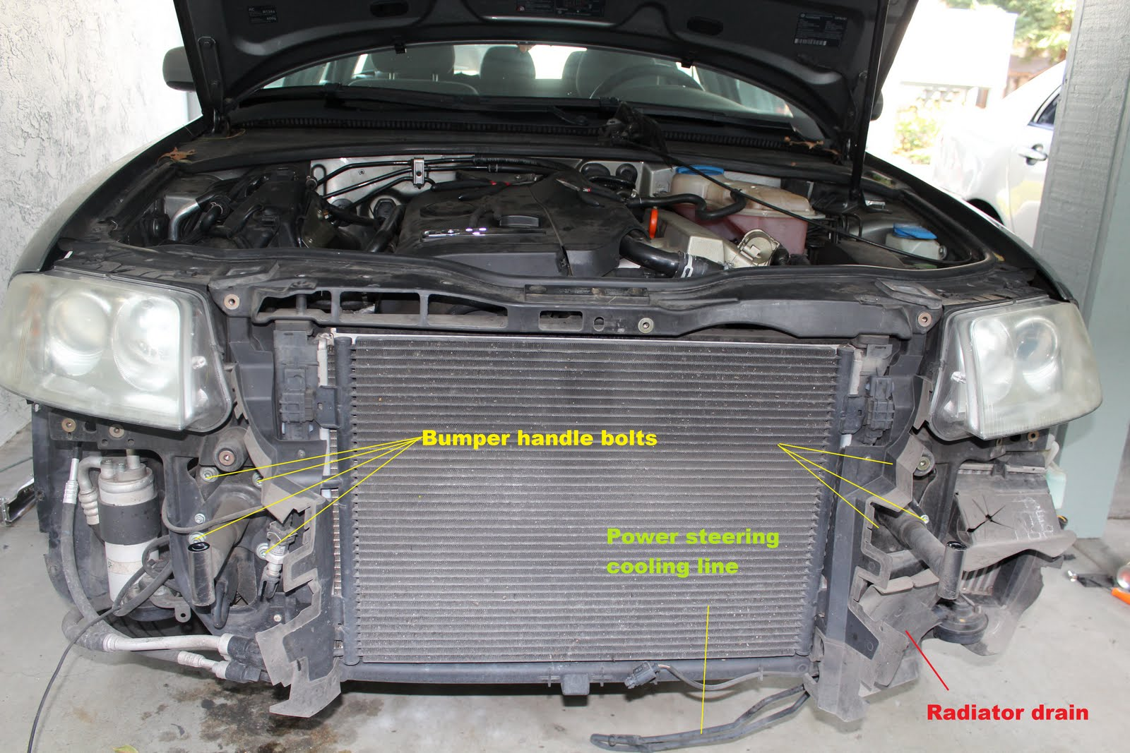 Vaccum Diagram Audi A4 18t Passat18t Seshu 2001 1 8t Engine Be Careful Dont Screw Thisif U Do Will Have Problems Opening The Hood Later Removed Top Bumper Boltstwo That Hold Grill With Vw Sign