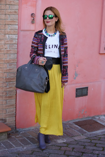 maxi skirt, ethnic print jacket, Givenchy Nightingale bag, Fashion and Cookies, fashion blogger