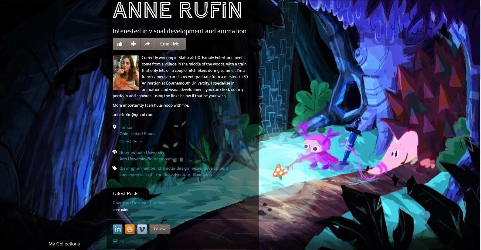 An image of Anne Rufin's (Character Designer and Animator) about.me page