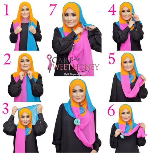 cara memakai hijab modern scarf 3 warna
