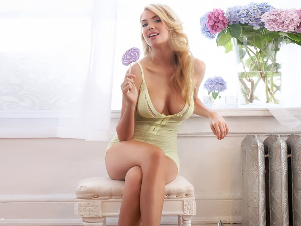 Beautiful Blonde With Candy