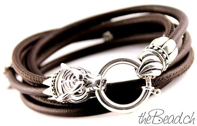 Tiger Armband aus Echtleder und 925 Sterling Silber