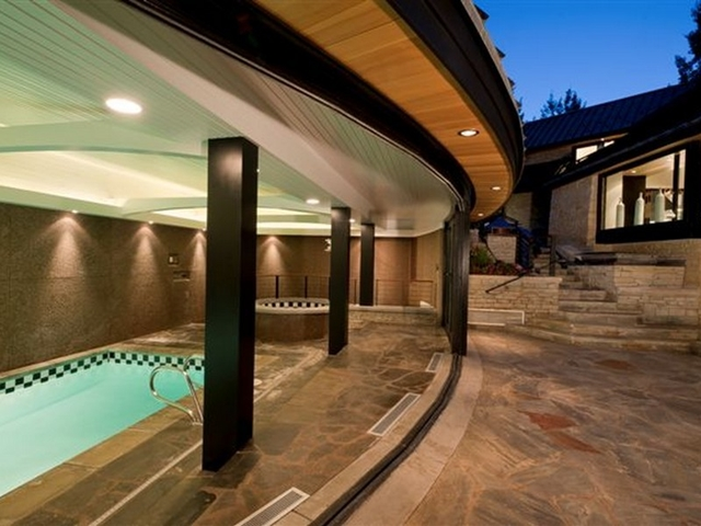 Picture of the pool with windows open making it outdoor pool