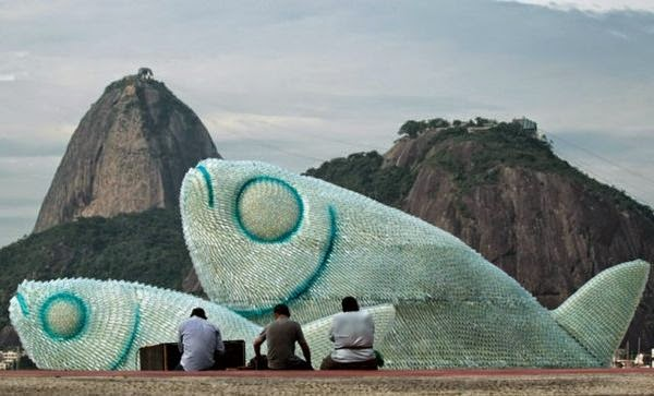 Giant Fish Sculptures Made from Discarded Plastic Bottles in Rio 2