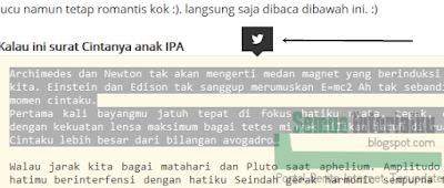 Cara Menyeleksi Teks dan Membagikannya di Twitter