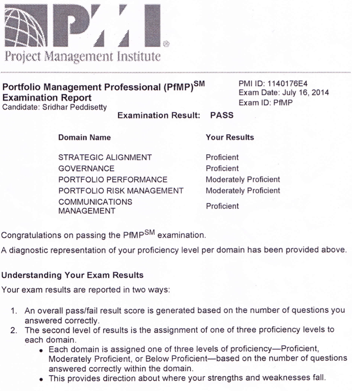 Sridhar Peddisetty's Space: My Lessons Learned for (PfMP)® Exam