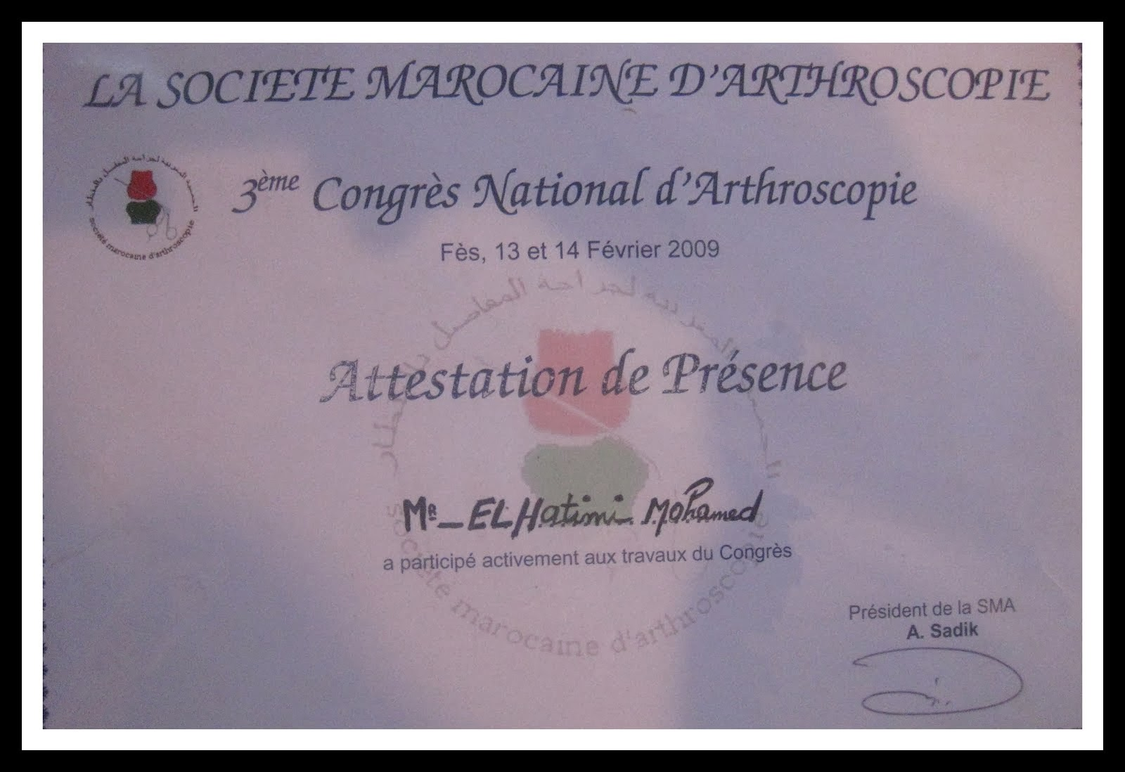 CONGRE D ARTHROSCOPIE