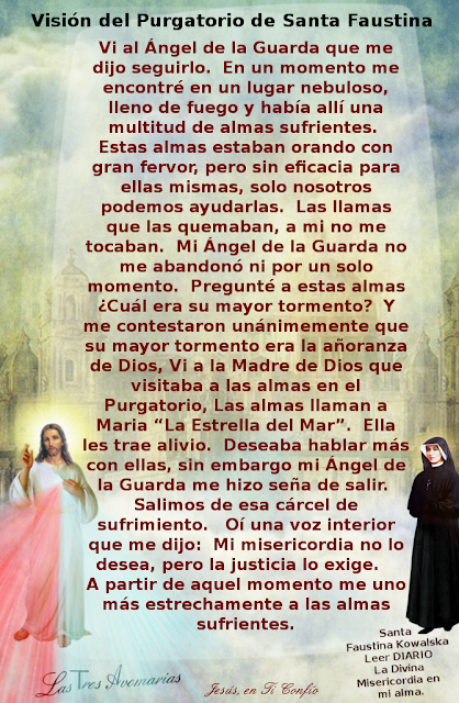 vision del purgatorio anotado en el diario por santa faustina