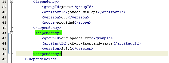<dependency>             <groupId>org.apache.cxf</groupId>             <artifactId>cxf-rt-frontend-jaxrs</artifactId>             <version>2.6.2</version>         </dependency>