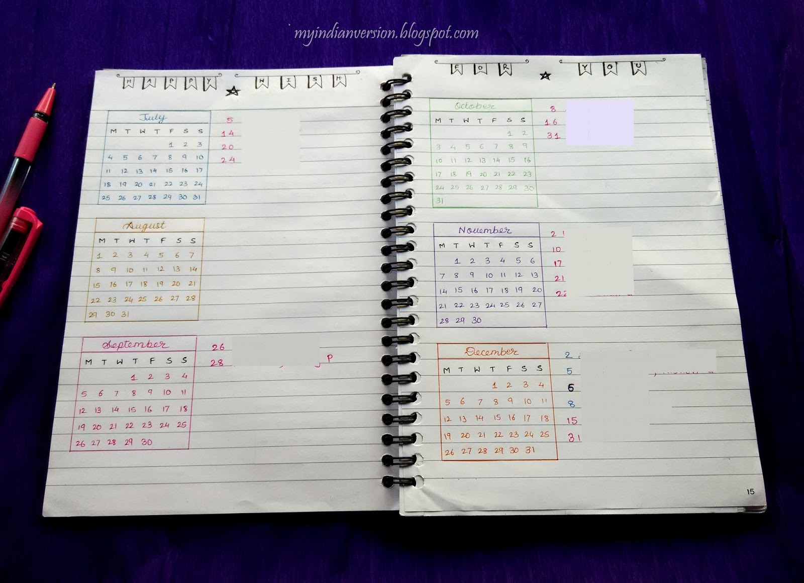 Calendar Bullet Journal : My indian version bullet journal yearly calendar and