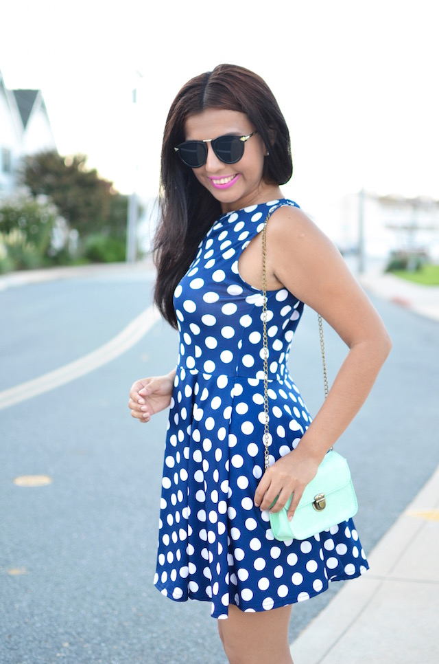 Navy Polka Dots Dress