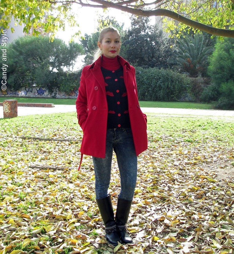 RedCoat, RedLipsCardigan, RedTurtleneckSweater, SkinnyJeans, BikerBoots - Lilli Candy and Style Fashion Blog