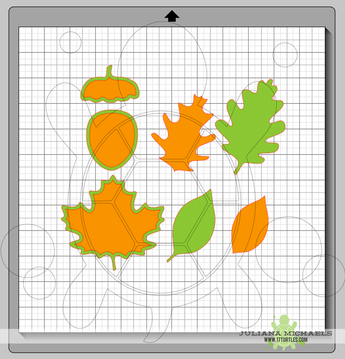 Separating the layers of a Digital Cut File Leaves & Acorn by Juliana Michaels 17turtles
