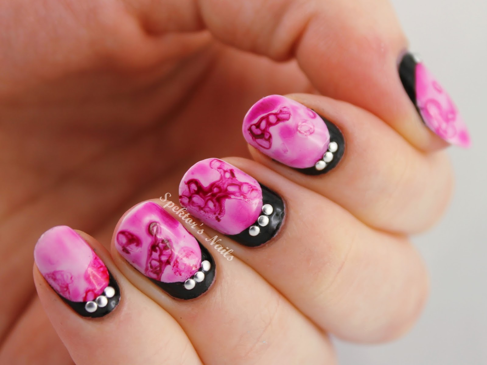 Valentine's Day Nails: Salted Watercolor Ruffian with Studs
