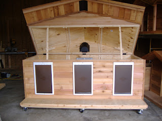 Custom ac heated insulated dog house for 2 door dog house