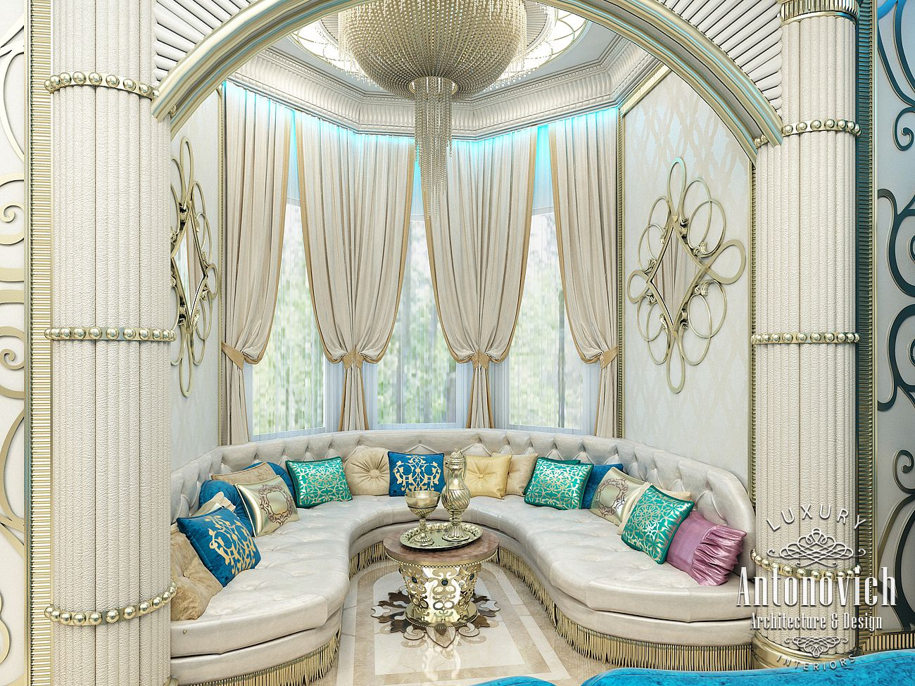 Luxury antonovich design uae interior in oriental style for Decoration maison islam