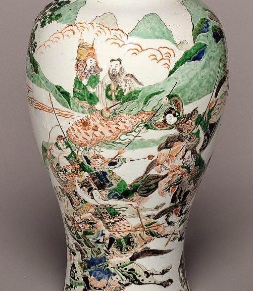 """<img src="""" Kangxi Baluster Vase detail .jpg"""" alt=""""with Warriors in Famille Verte Enamels"""">"""