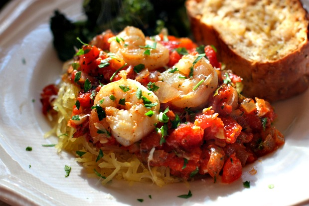 roasted spaghetti squash with chunky red herb sauce