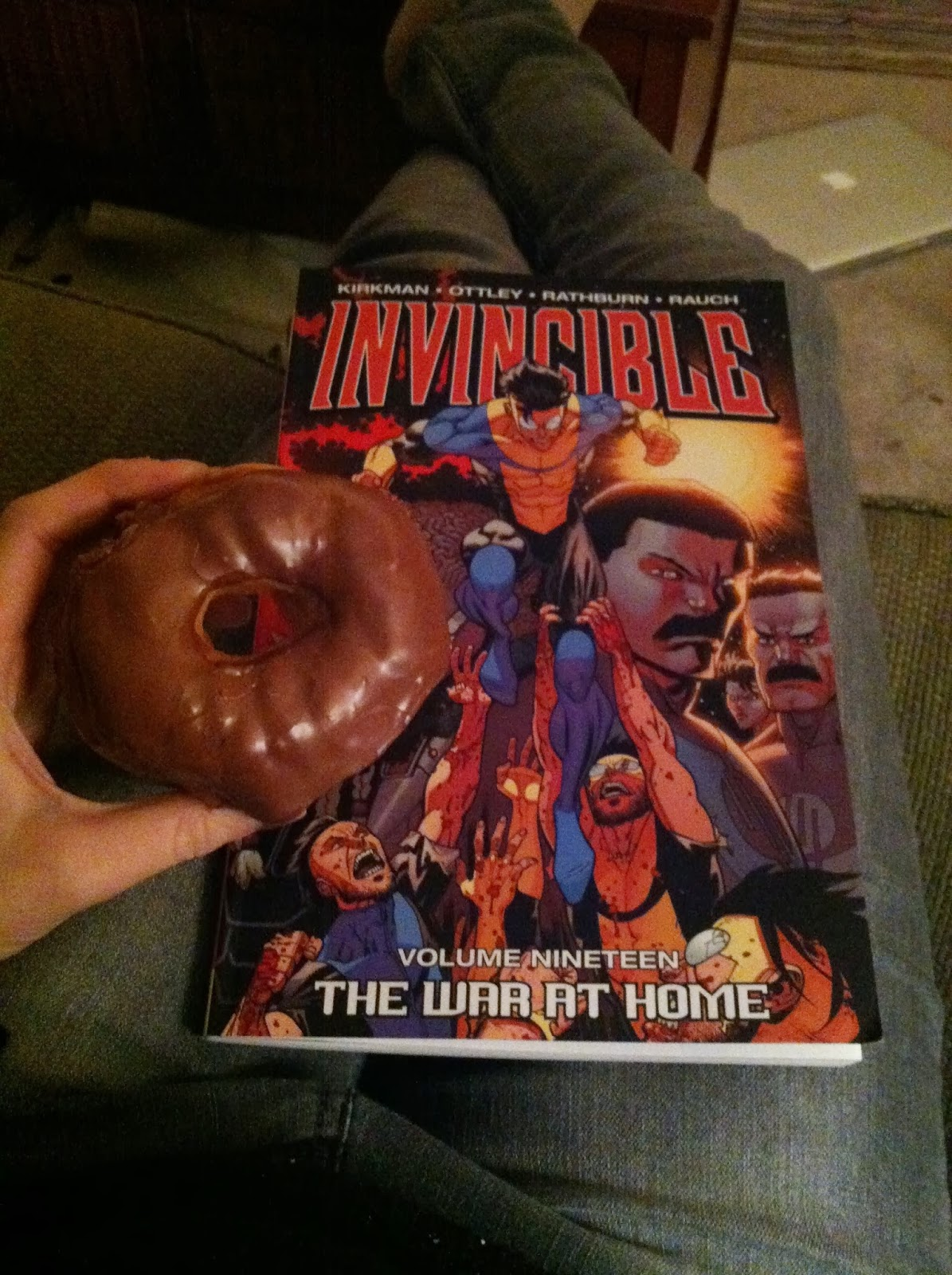 comic, graphic novel, invincible, donut, chocolate, chocolate donut