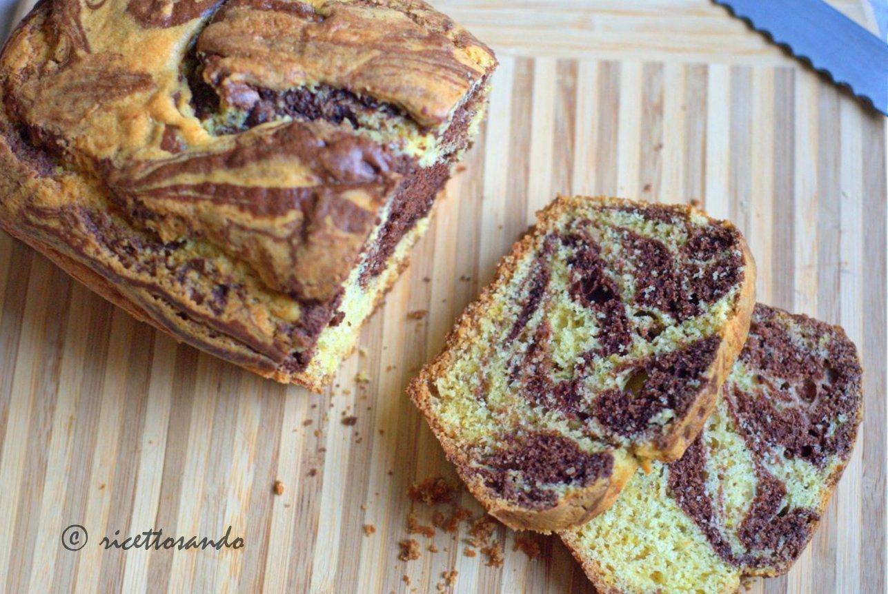 Plumecake variegato al cacao  ricetta semplice per un dolce molto bello