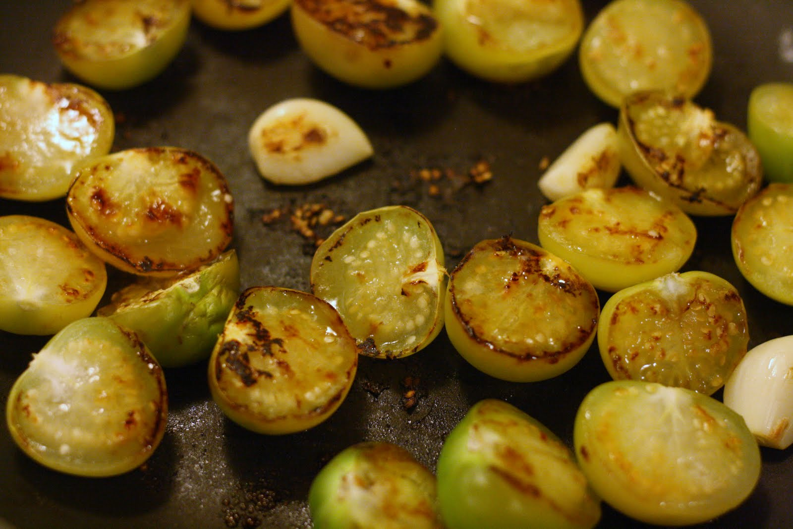 Laine's Recipe Box: Smoky Chipotle Salsa with Pan-Roasted Tomatillos