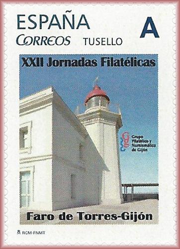 Sello personalizado con el faro de Gijón