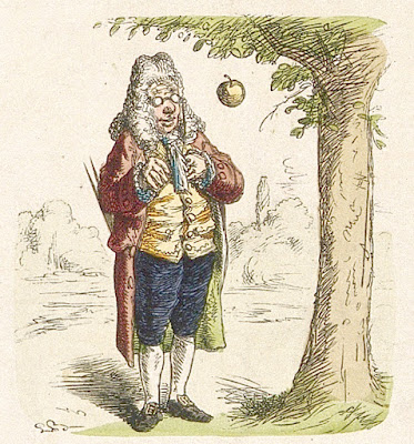 Picture of Isaac Newton seeling an apple drop from a tree