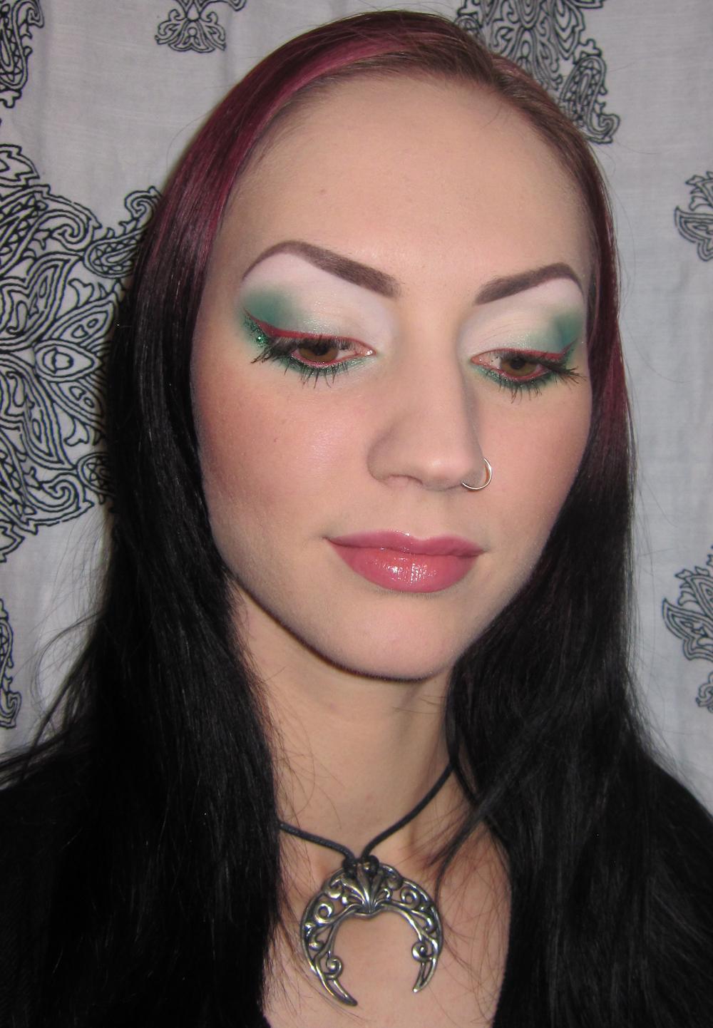 Glitter Is My Crack Green White And Red Reverse Smokey Eye