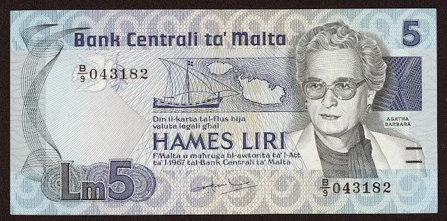 Malta Banknotes 5 Maltese Lira banknote 1986 Agatha Barbara, Former President of Malta
