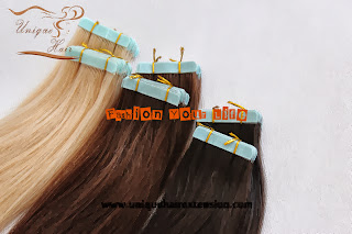 blue tape hair extensions