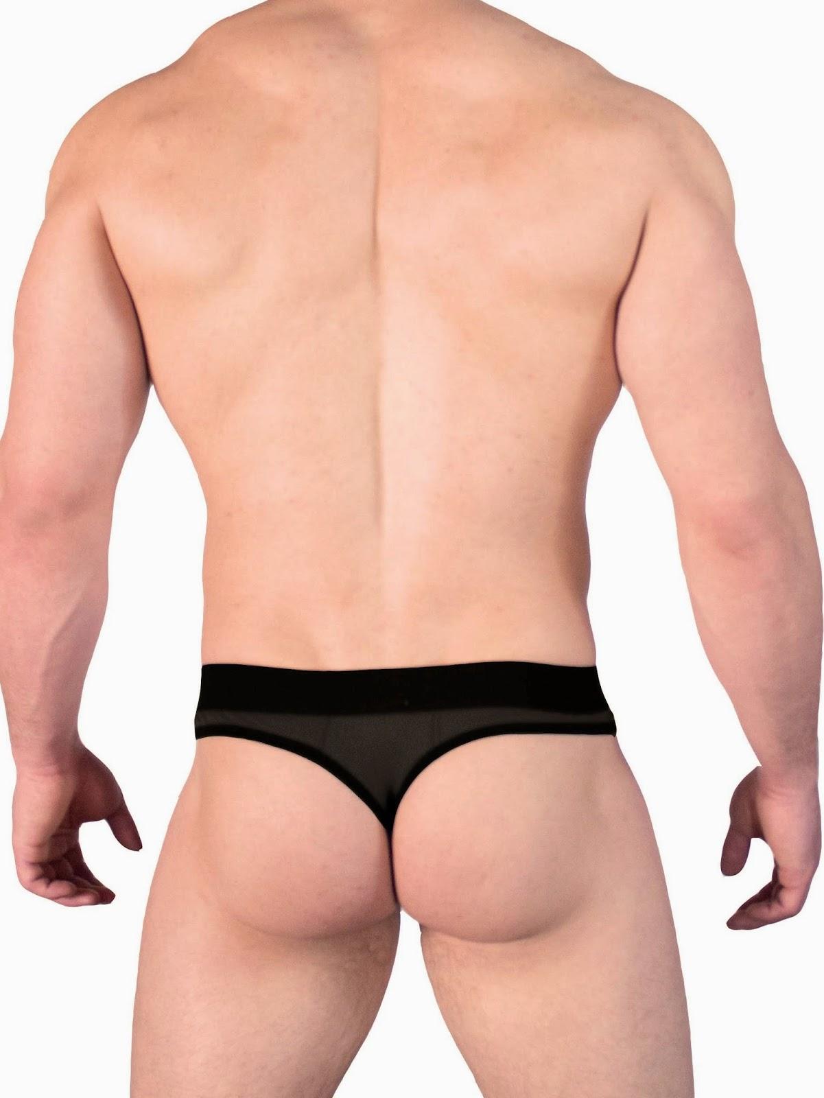 GBGB Wear Marius Thong Underwear See-Thru Pouch Solid Black