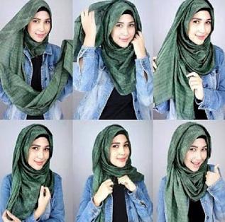 Contoh Tutorial Hijab Pashmina Casual