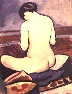 Macke, August Macke Nu assis à l'oreiller, 1911