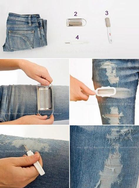 Tutotial diy calças rasgadas calças de ganga boygriend