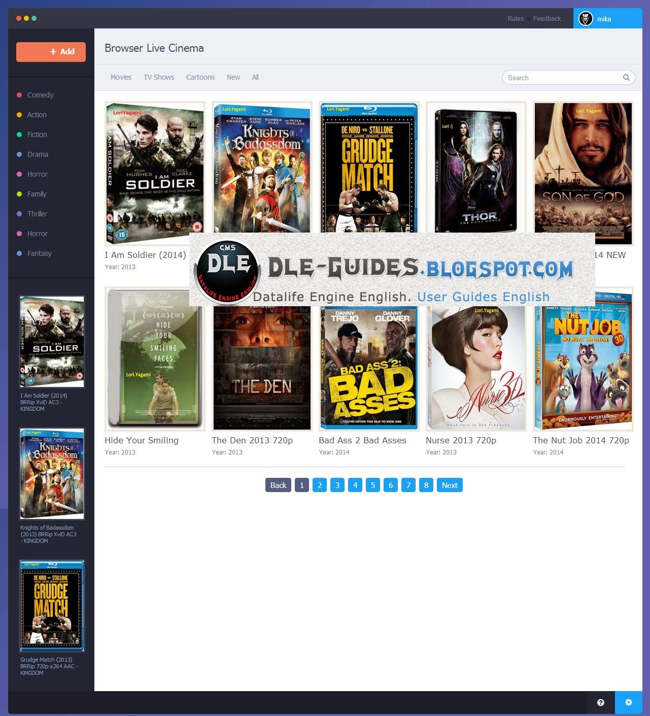 Browser Live Cinema Template For DLE 10.1 English