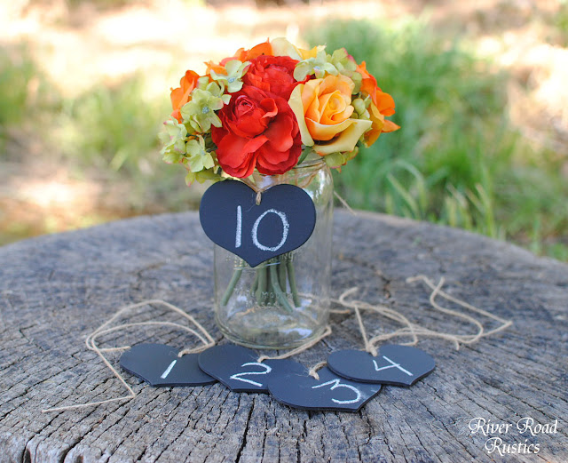 Mason Jar Wedding Ideas - Table Numbers Chalkboard Tag