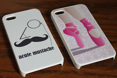 iphone cover with ballet toe shoe illustration and mustache illustration