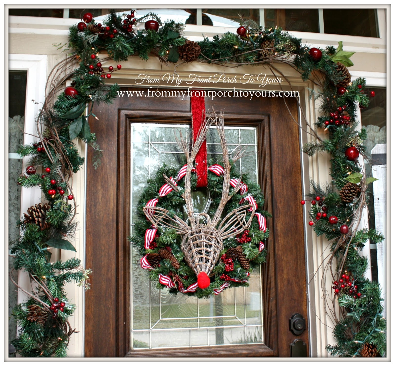 Rudolph Christmas Wreath-Simple Vintage Christmas Front Porch- From My Front Porch To Yours