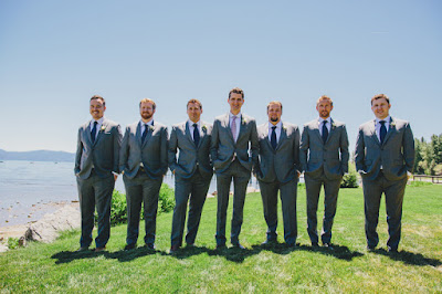 Groom & Groomsmen in grey and navy l Gatekeeper's Museum Tahoe l Sun + Life Photo l Johnny B Video l Take the Cake Event Planning