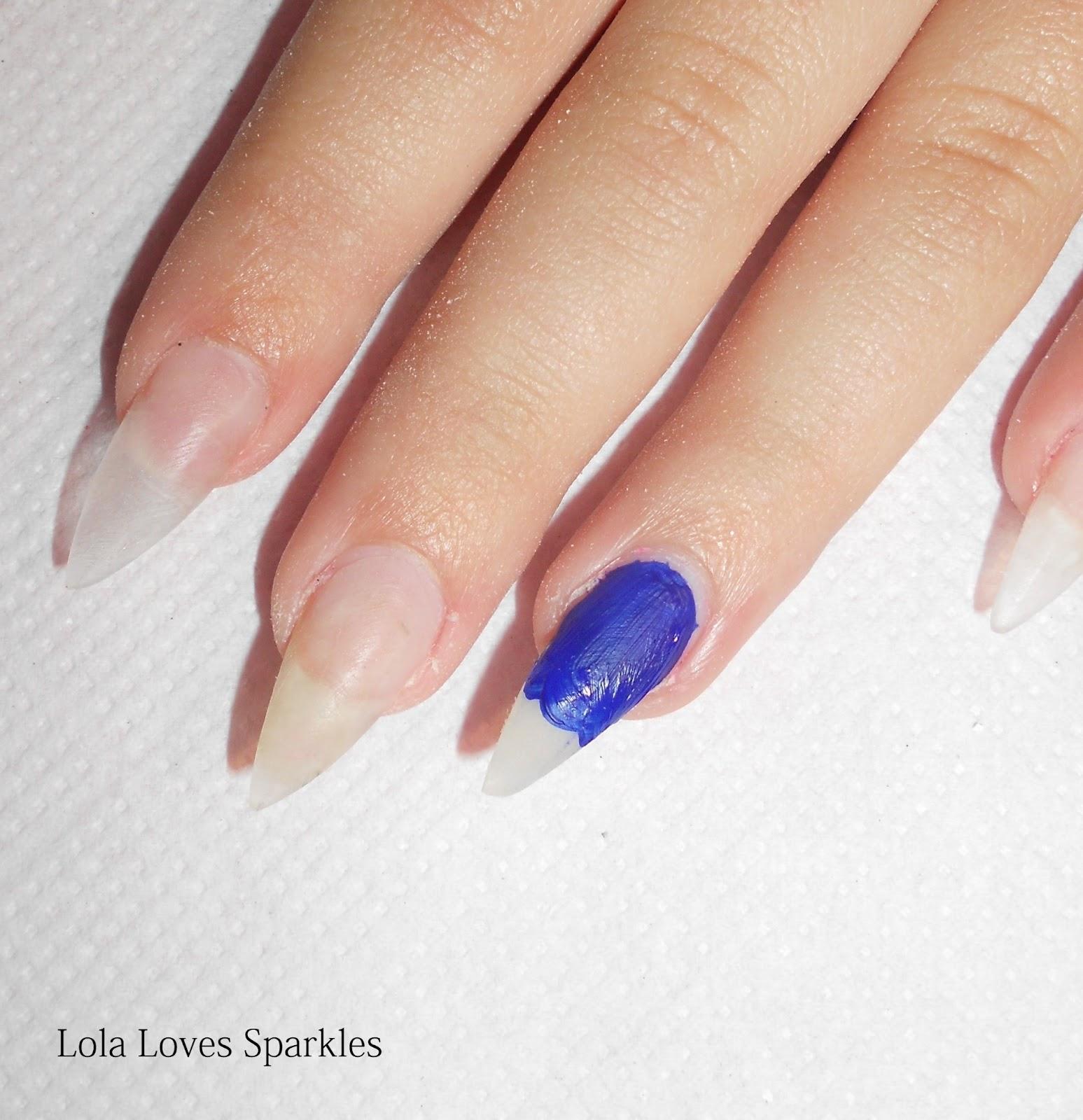 lola loves sparkles cute coloured pencils nail design