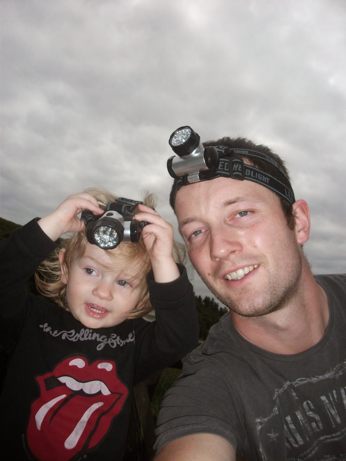 Eva and Dad, headtorch selfie #2