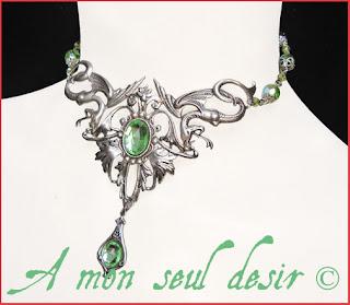 Collier médiéval fantastique serpent fantaisy renaissance medieval snake necklace