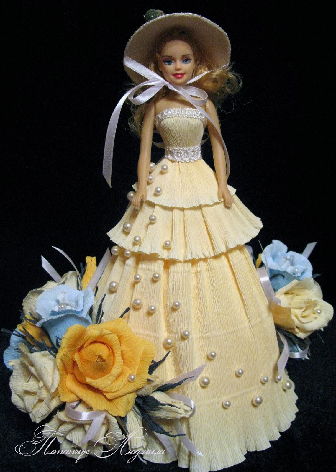 Цветы из конфет на куклу