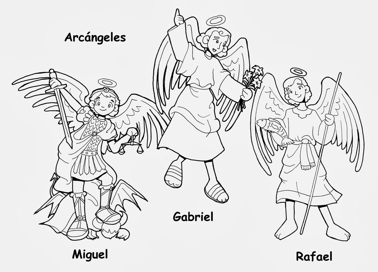 Arcángeles Miguel, Gabriel y Rafael para colorear
