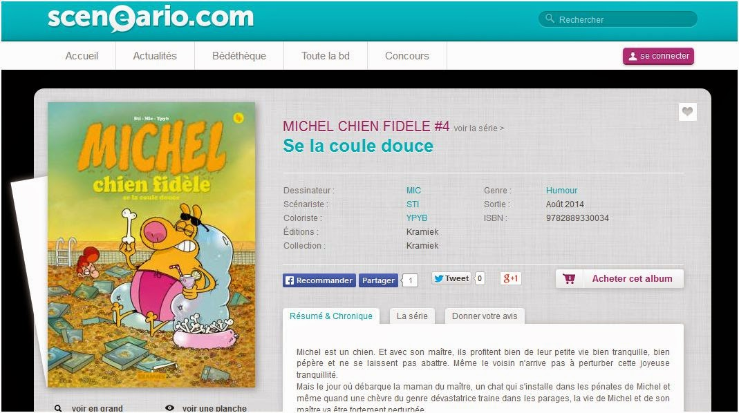 http://www.sceneario.com/bande-dessinee/MICHEL+CHIEN+FIDELE+4-Se+la+coule+douce-21945.html