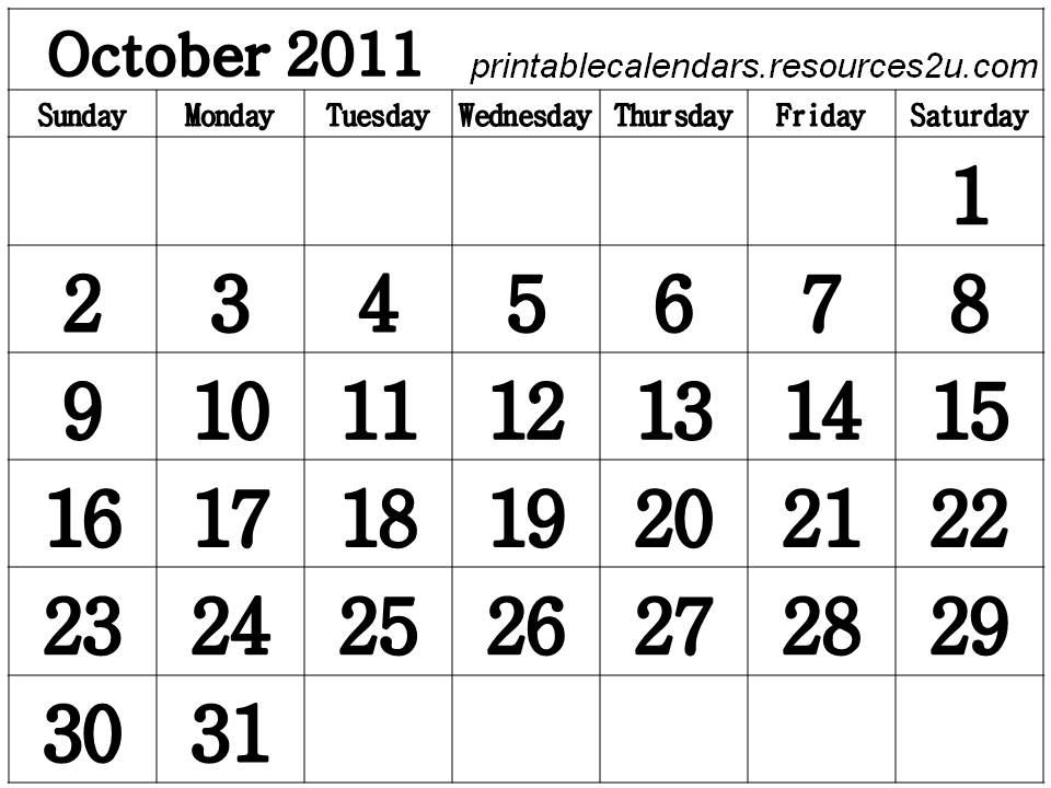 free printable calendars 2011 with pictures. Free October 2011 Calendar